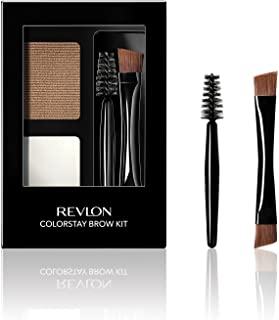 Revlon ColorStay Brow Kit, Includes Longwear Brow Powder, Clear Pomade, Dual-Ended Angled Tip Eyebrow Brush & Spoolie Brush, Blonde (105), 0.08 oz