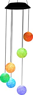 Ganeed Color Changing Solar Wind Chimes, Crystal Ball LED Wind Chime, Mobile Portable Waterproof Outdoor Windchime Light f...
