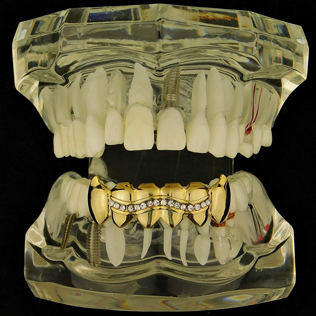 14k Gold Plated Grillz Bottom Iced One Wavy Row Fangs Vampire Grill Premade Grills New Fang Teeth