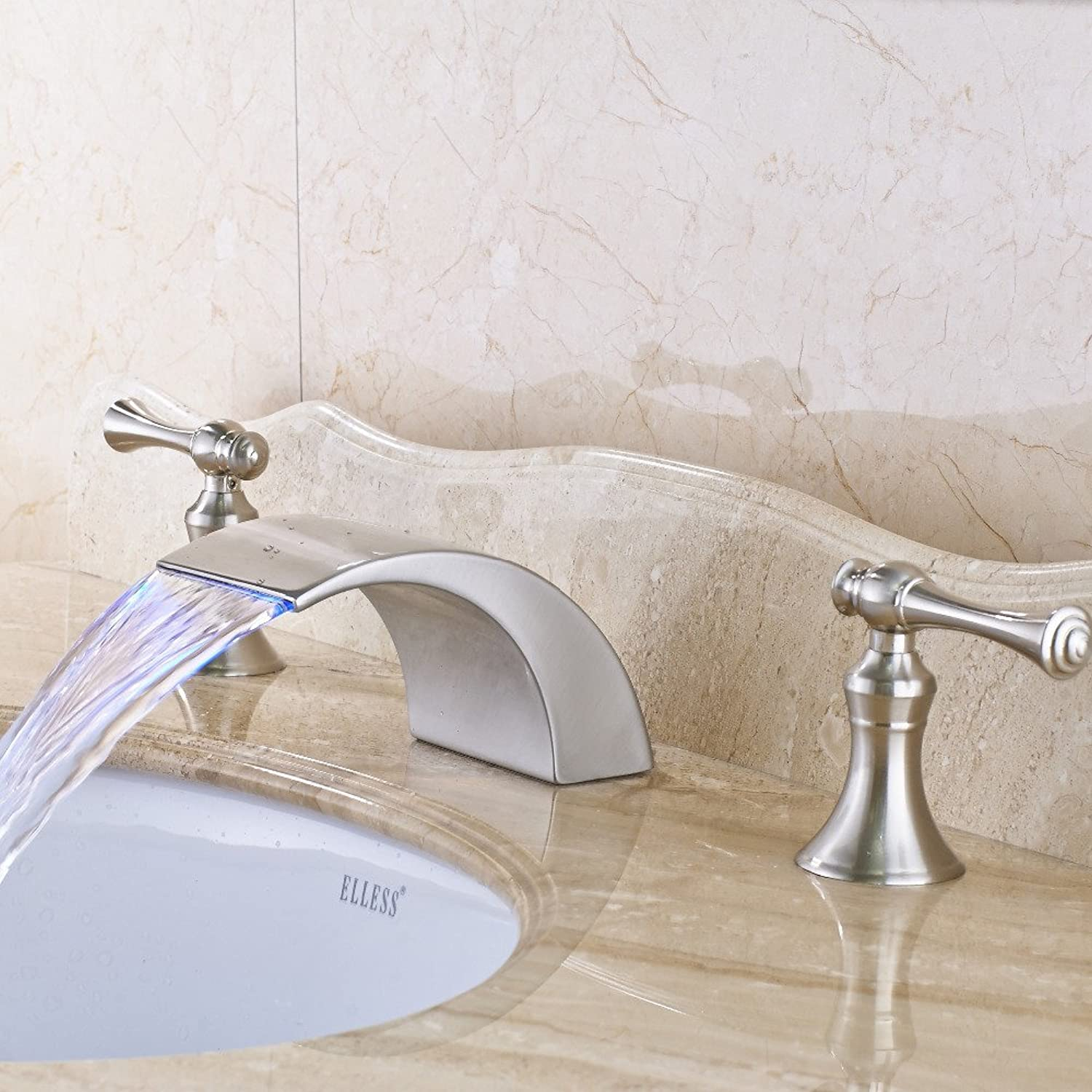 Maifeini Nickel Plated Brushed-Wide Dual Handles Of The Holes In The Bathroom Basin Series Mixer, Clearing