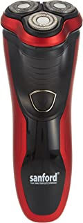 Sanford SF9803MS Speed XL Shaving Head Pop Up 3 Floating Rotary Blade Shaver for Men, Red/Black