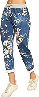 Janisramone Womens Ladies New Italian Floral Rose Print Turn Up Pocket Trouser Bottoms Summer Beach Pants