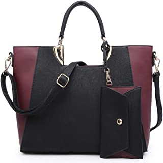 Womens Large Two Tone Handbag Structured Tote Fashion Satchel Bag Shoulder Bag with Matching Wallet