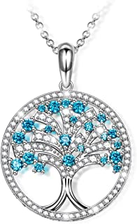NINASUN Women Christmas Necklace Gifts Tree of Life Crystal Necklace Gemstone with 925 Sterling Silver Necklaces for Women Hypoallergenic Material with Gift Box