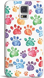 Inspired Cases - 3D Textured Galaxy S5 Case - Rubber Bumper Cover - Protective Phone Case for Samsung Galaxy S5 - Watercolor Paw Prints