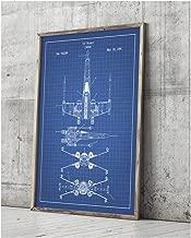 Star Wars Assorted Design Patent Art Poster 18 x 24 inch Silk Screen Prints (Star Wars Vehicles: X-Wing B - Blue Grid)