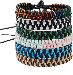 Jeka Handmade Braided Woven Friendship Bracelets Fashion 6 Pcs Bulk Men Women's Cool Wrist Anklet Bracelet for Boys Gift