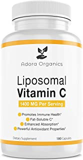 Adora Organics Liposomal Vitamin C 1400mg - 180 Capsules - Supports Healthy Immune System - High Absorption - Immune Support