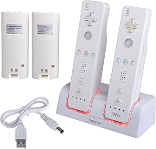 Insten Dual Charging Station with 2 Rechargeable Batteries & LED Light for Nintendo Wii / Wii U Remote Control, White Controller Charger Dock - (Original Wii Controllers Not Included) Retail Packaging
