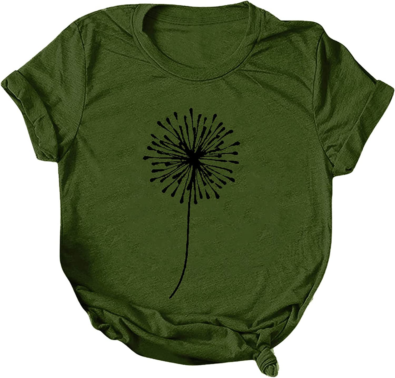 Womens Short Sleeve Tops Columbus Mall Our shop OFFers the best service Dandelion T-Shirts Loose Casual