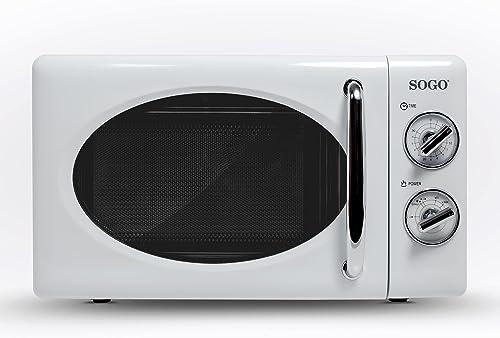 SOGO HOR-SS-890-W Micro-ondes rétro 20 litres, 700 W, en aluminium, blanc