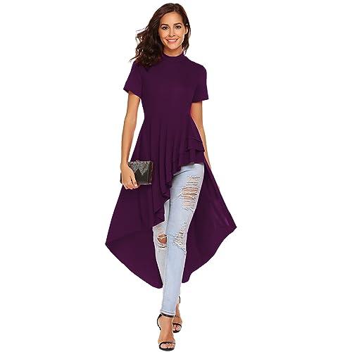 5fe1eaf0 SimpleFun Womens Ruffle High Low Asymmetrical Short Sleeve Bodycon Tops  Blouse Shirt Dress
