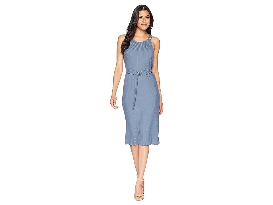 MICHAEL Michael Kors Rib Circle Trim Dress (Dark Chambray) Women