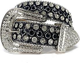 SSMDYLYM Strap Diamond Riem Studded Riem Cowgirl Cowboy Rhinestone Riem voor vrouwen Mannen (Color : Black, Size : 44 inch)