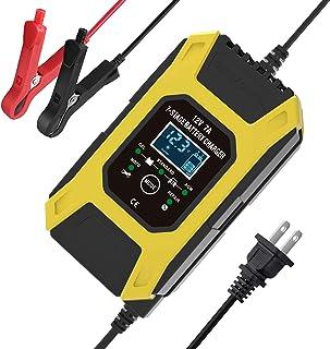 Romacci Carregador de bateria de carro, carregador de baterias de chumbo-ácido 12V 7A, visor LCD Smart Battery Maintainer ...