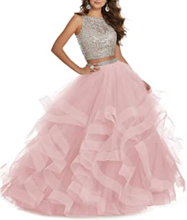 Women's 2 pc Beaed Prom Dress Long Asymmetric Laye Tulle Quinceanera Dress