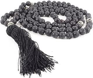 108 Black Lava Stone Mala Necklace or Wrist Wrap for Meditation, Prayer, Japa, Tantra, Aromatherapy
