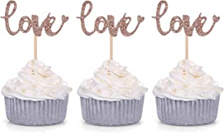 24 Glitter Love Cupcake Toppers Wedding Bridal Shower Engagement Party Decoration Picks - Rose Gold