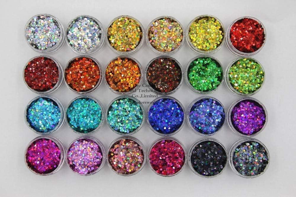 Gabcus 24 Holographic Colors Round Dot Alternative Max 57% OFF dealer Glitter 2MM Size Shape fo