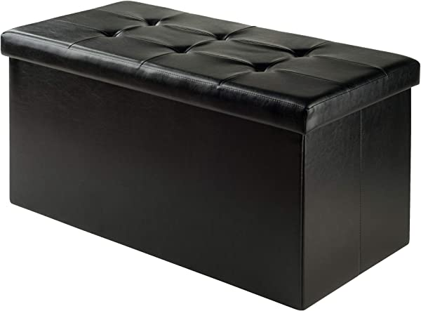 Winsome Wood 20627 WW Furniture Piece Ashford Ottoman With Storage Faux Leather Black