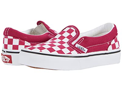 Vans Kids Classic Slip-On (Little Kid) ((Checkerboard) Cerise/True White) Girls Shoes