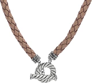 American West Sterling Silver Neutral Leather Toggle Necklace 20 Inch