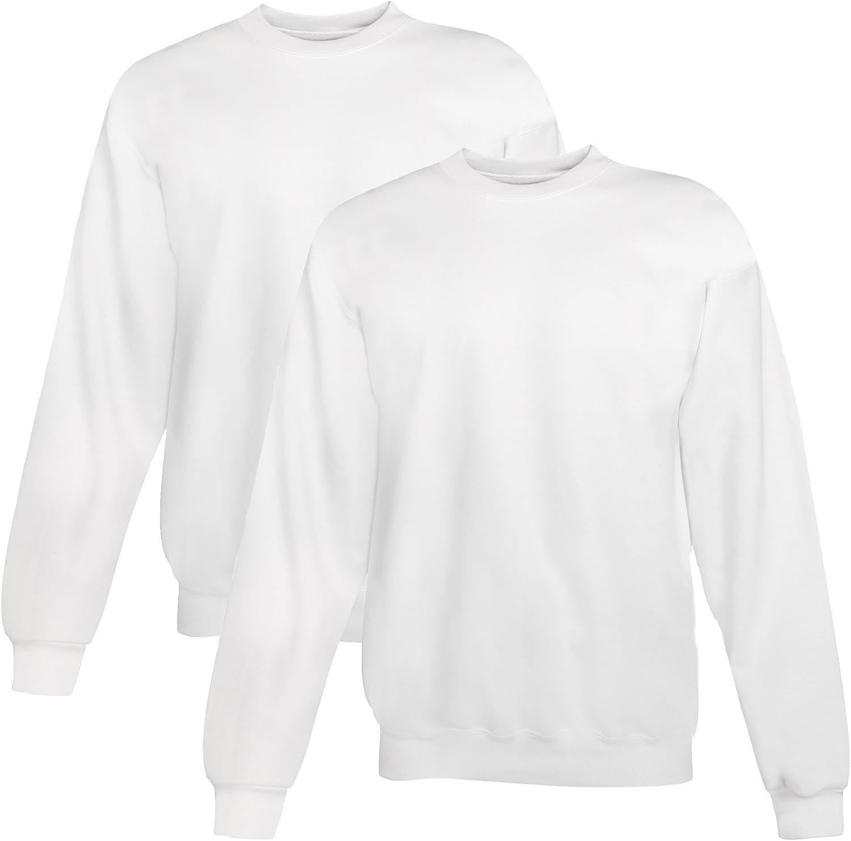 Hanes mens 7.8 oz. ComfortBlend EcoSmart 50/50 Fleece Crew(P1607)-WHITE-5XL-2PK