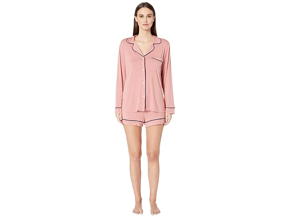 Eberjey Gisele Long Sleeve Short and PJ Set (Old Rose/Northern Lights) Women