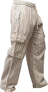 Shopoholic Fashion Mens Light Weight Stripe Hippy Combat Trouser