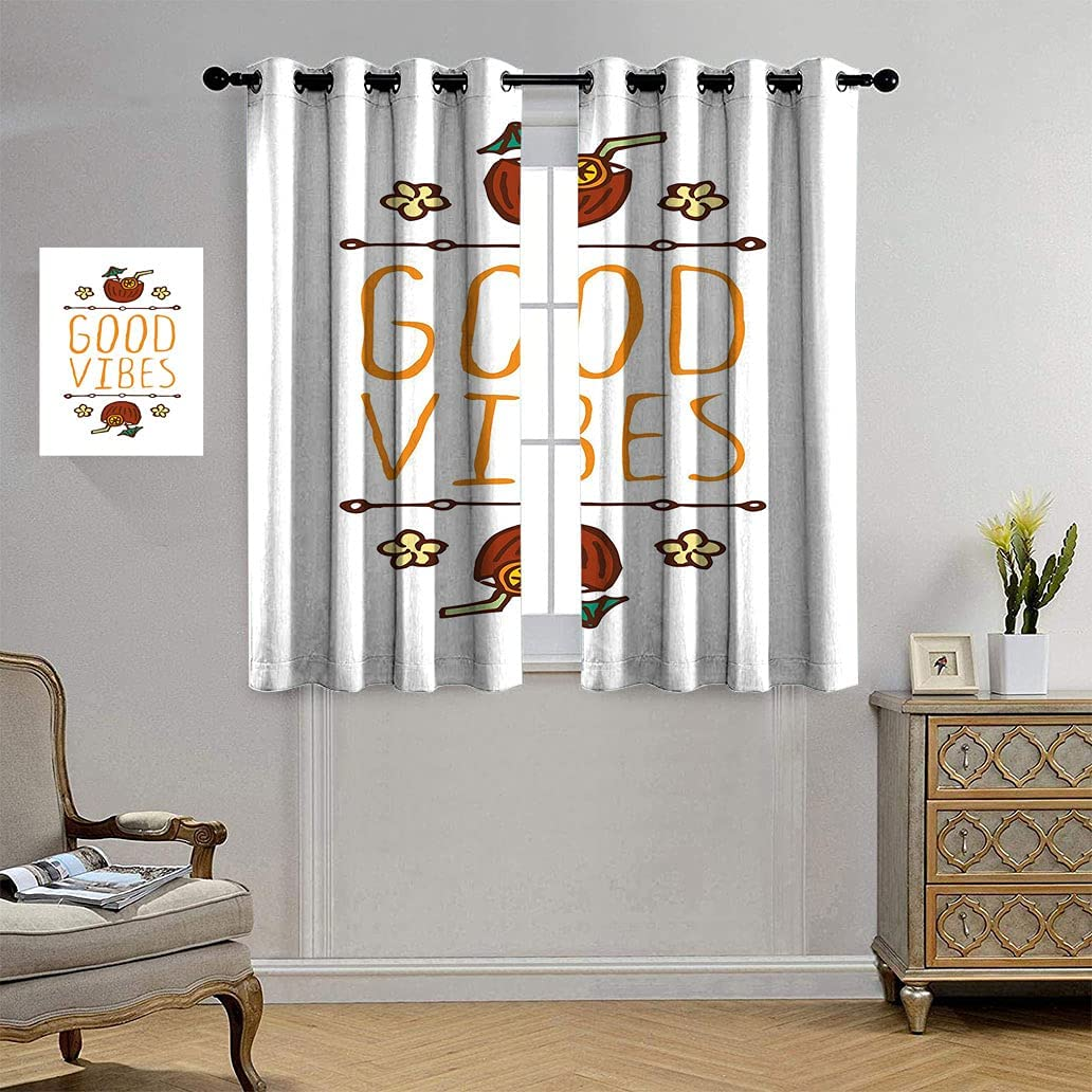 Good Vibes Patterned Curtain Popular brand Panels Hand Summer Style Sketch El Fees free