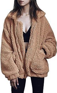معطف نسائي كاجوال طية صدر السترة من الصوف الصناعي المزغب بسحاب معاطف دافئة للشتاء كبيرة الحجم
