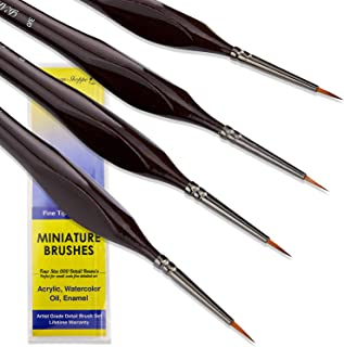 Small Paint Brush Miniature Brushes. Fine Tip Series 4pc 000 Paintbrushes Set for Art Watercolor Acrylics Oil - Model Craft Warhammer Airplane Kits Nail Paint by Numbers Micro Detail Hobby Painting
