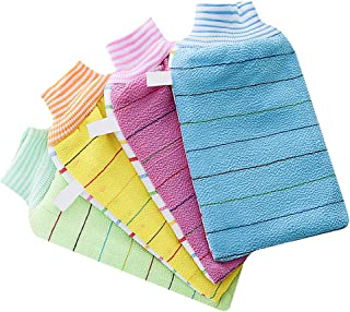 TOPBATHY 4pcs Bath Exfoliating Gloves Double Side Thickened Striped Bath Scrubbing Mitts Kitchen Dish Wash Towel Cleansing Tool For Shower Spa (Random Color)