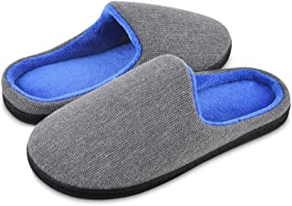 Mens Slippers Two-Tone Memory Foam Anti-Slip Men House Shoes Indoor Outdoor Classic Slip on Comfy Winter Warm