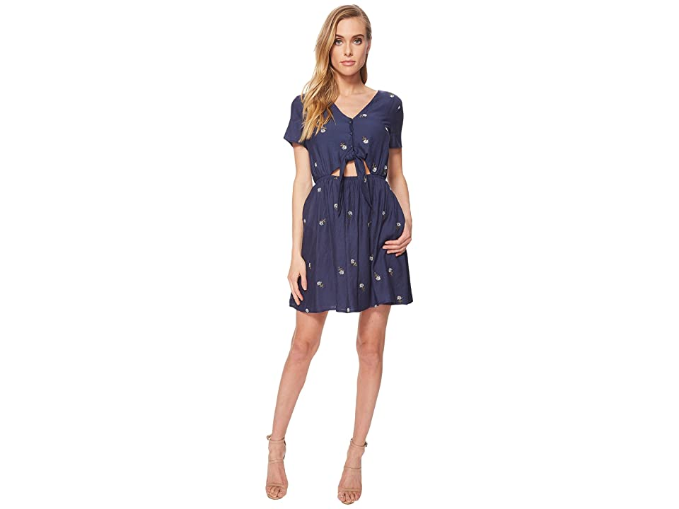 J.O.A. Button Up Dress with Cut Out Waist and Tie Detail (Navy) Women