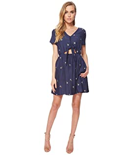 Button Up Dress with Cut Out Waist and Tie Detail