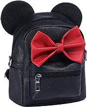 Women Kid Girls Cartoon PU Leather Mouse Ear Bow Backpack Shoulder School Mini Travel Satchel Casual Bag Rucksack