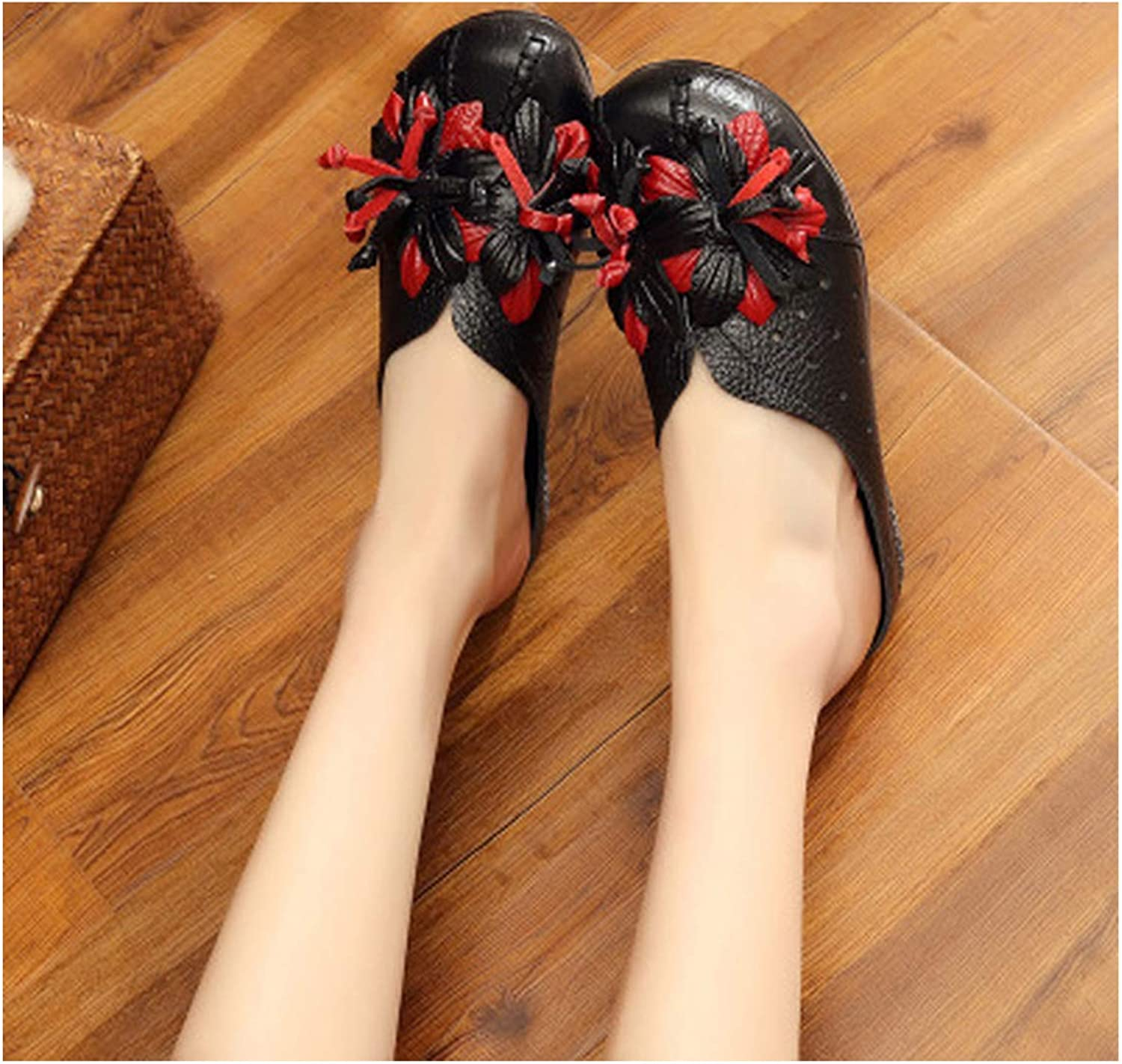 PREtty-2 Woman Genuine Leather shoes Slippers Slip-On Outdoor Slippers shoes Flat with Sandals Floral