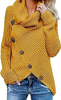 Voqeen Suéteres de Mujer Tortuga De Botón Cuello Vuelto Asimétrico Dobladillo Envoltura Tejido Gruesos de Punto Jersey