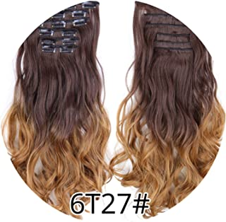 world-palm Full Head High Temperature Fiber Curly Synthetic 16 Clips In Hair Extensions For Women Popular Hairpieces Ombre Colors,6T27,22inches