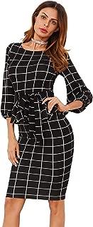 Women's Lantern Sleeve Gingham Peplum Business Pencil Dress