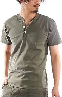 ヘンリーネックTシャツ メンズ 半袖 厚手 無地 白 黒 グレー 紺 カーキ 春 夏 半袖Tシャツ カットソー お洒落 カジュアル ユニセックス 男女兼用 レディース対応