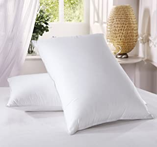 Luxury Down Pillow - 500 Thread Count 100% Cotton Shell, Standard Size, Firm, Set of 2