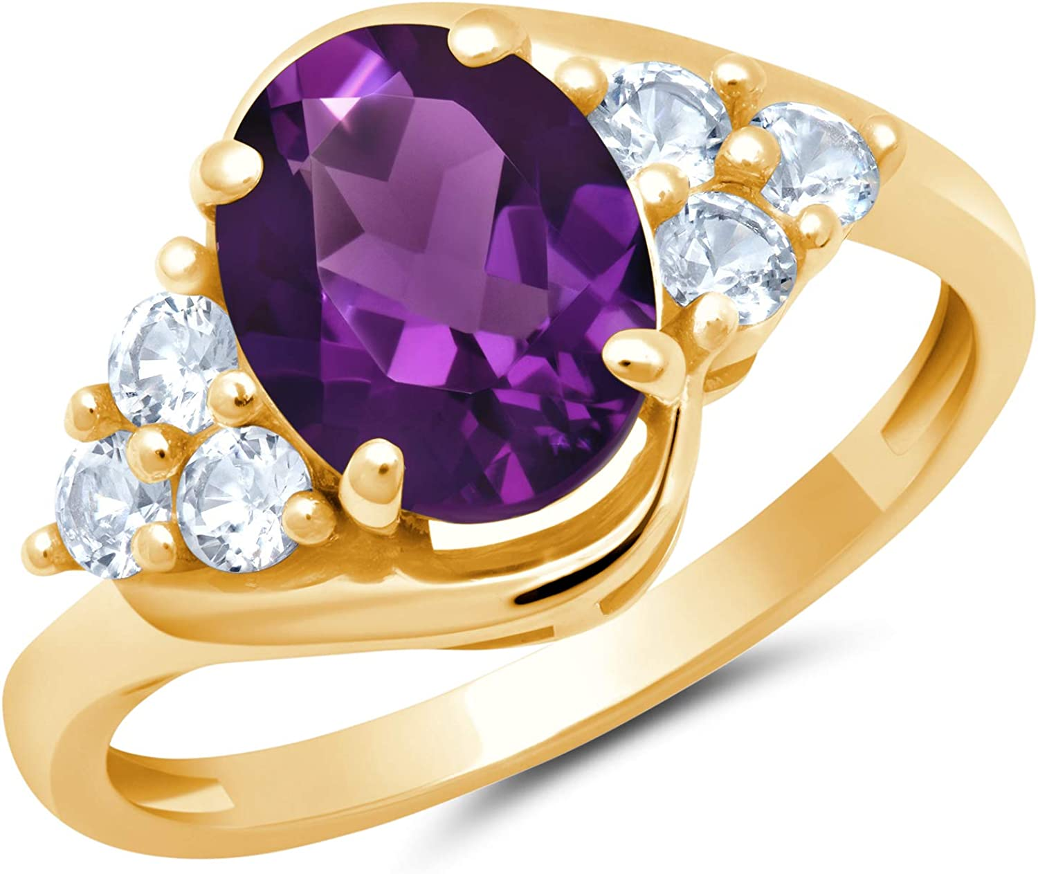Solid We OFFer at cheap prices 10K Yellow or White Gold Cut Births Amethyst Oval Columbus Mall February
