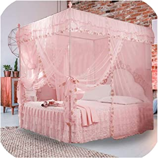 sunshine-xj Luxury Princess 3 Side Openings Post Bed Curtain Canopy Netting Mosquito Net Bedding No Bracket Home Supplies,Pink (No Bracket),150x200x200cm