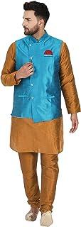 SKAVIJ Kurta Pajama and Jacket Set for Men Indian Ethnic Party Wear Outfit