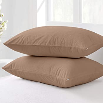 Cloth Fusion Terry Dustproof andWaterproof Pillow Protector Set of 2King Size (20x36 Inch-Beige)