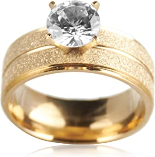 Ring for women with gold and gold plated with zircon stone size 9