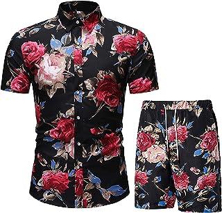 MANLUODANNI Men's Tracksuit Set for Summer Full Zip Short Sleeve Top T-Shirt Jogger Shorts Bottom Sportswear Tracksuit Sets