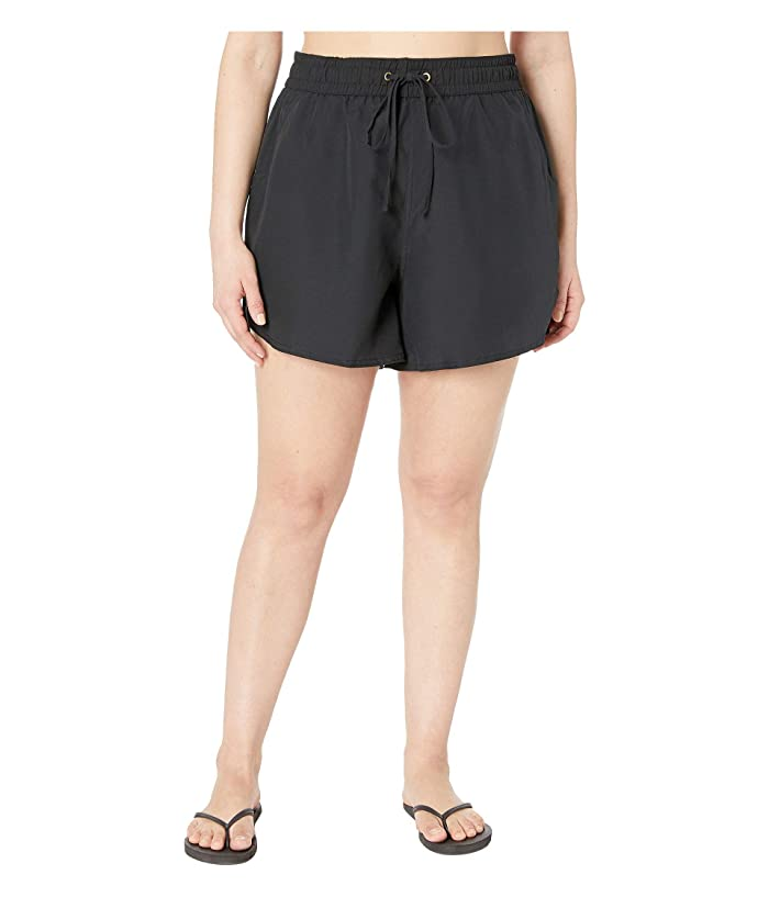 24th & Ocean Plus Size Solids Board Swim Shorts (Black) Women